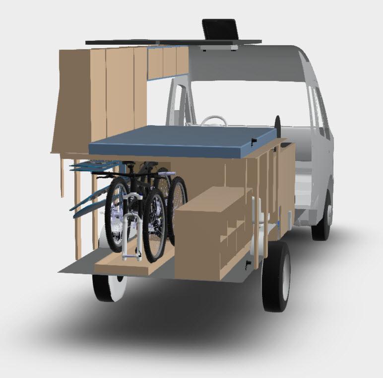 Ford transit camper van conversion slide out bike rack cad FarOutRide