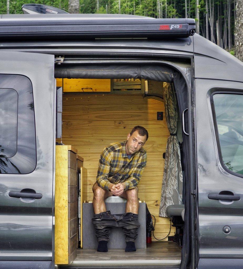 Composting Toilet Natures Head Man in a Van