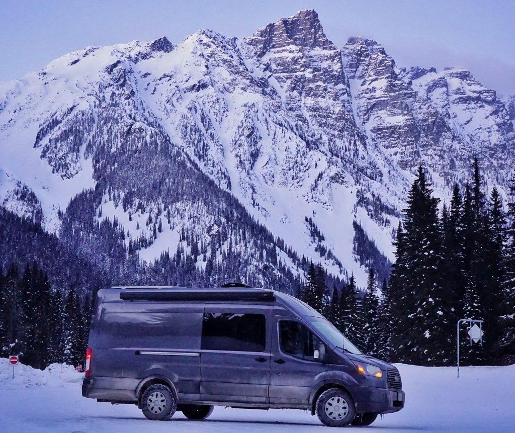 Rogers Pass Skiing Overnight Camping Van