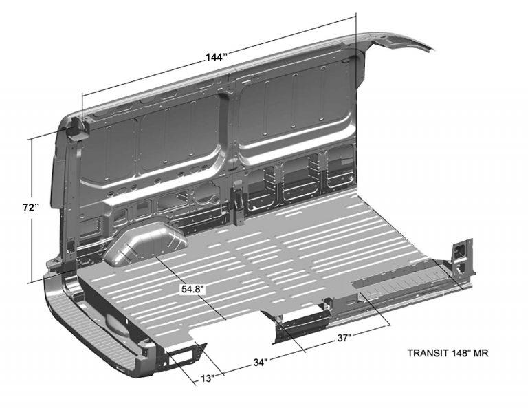 Ford-Transit-Interior-Cargo-Dimensions-(Long-Length-148WB,-Medium-Roof)