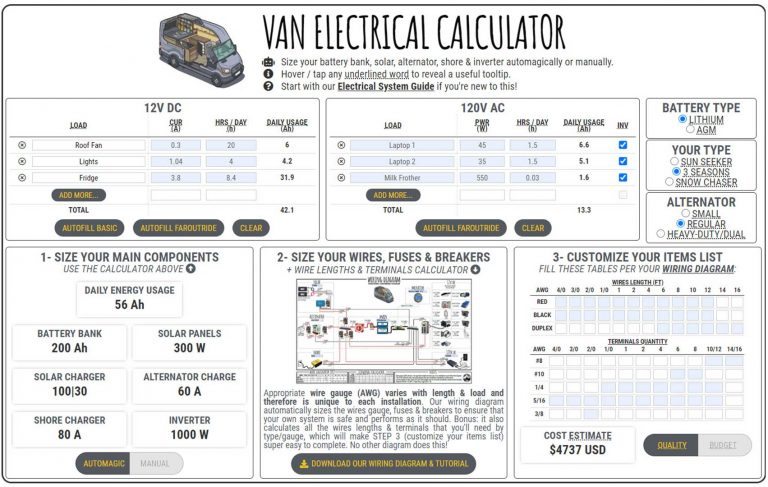 van electrical calculator  faroutride